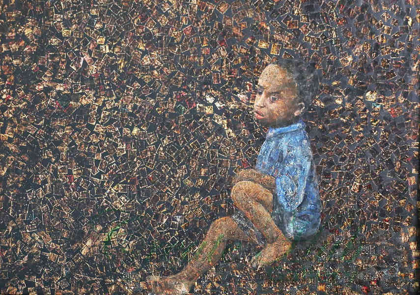 In his home town Ugandan artist often shares news about exhibition and paintings on view