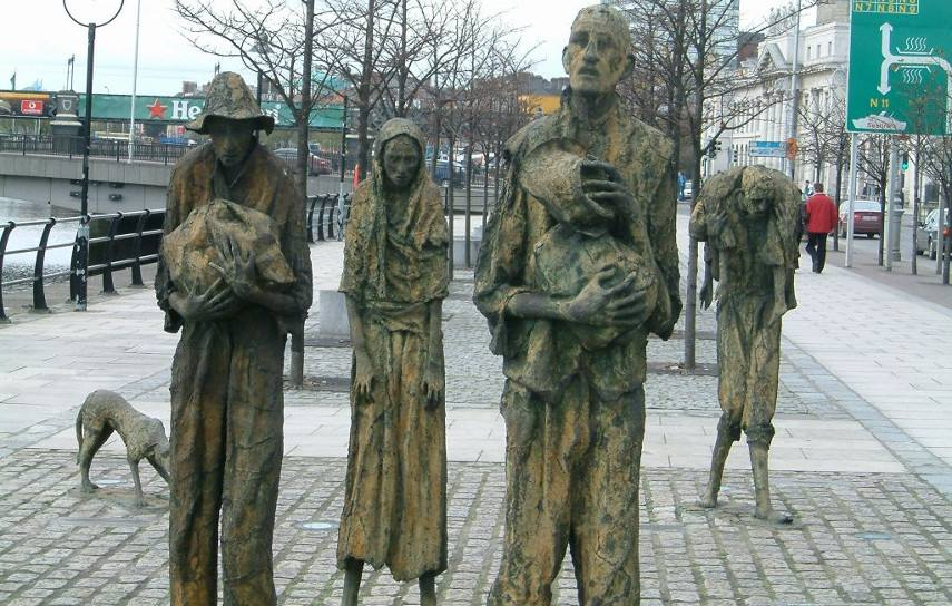 Photo of Famine, a series of sculptures done by Rowan Gillespie that can be found in the capital of Ireland - New style portrait painters like to go by it that, when you commission them to create a portrait painting, they have to see the people in question before they set the price