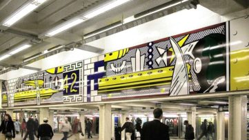 Roy Lichtenstein - Times Square Mural, 1990; resembling a roy lichtenstein piece from 1963