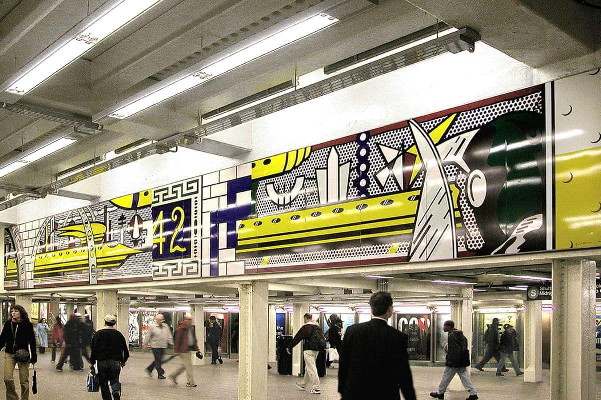 Roy Lichtenstein - Times Square Mural, 1990; resembling a roy lichtenstein piece from 1963 that could be seen in tate next to andy warhol