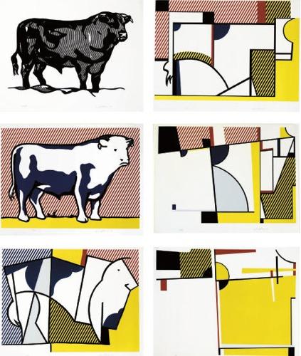 Roy Lichtenstein-Bull I; Bull III-VII, from Bull Profile Series-1973