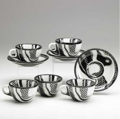 Roy Lichtenstein-Five china teacups and three saucers-1966