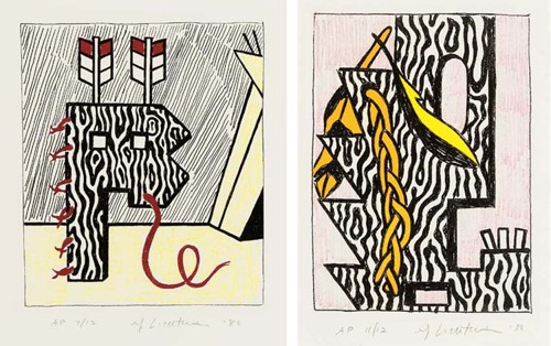 Roy Lichtenstein-Head with Feathers and Braid; Figure with Teepee-1980