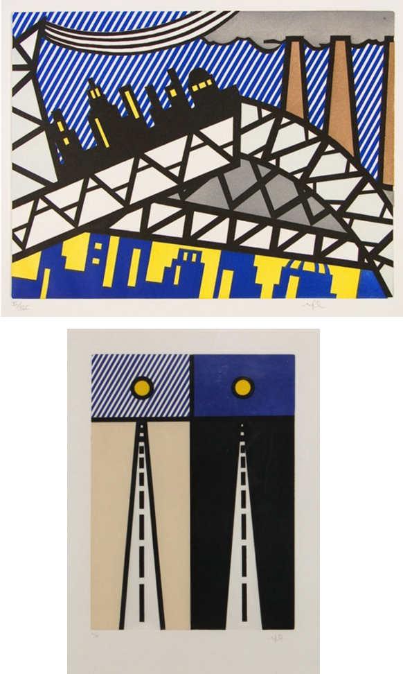 Roy Lichtenstein-Illustration for Auto poesie en cavale de bloomington; Illustration for Bayonne en entrant dans nyc-1992