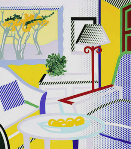 Roy Lichtenstein-Interior With Painting of Trees-1997