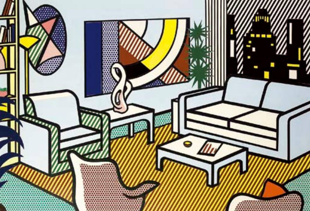 Roy Lichtenstein-Study for Interior with Skyline-1992