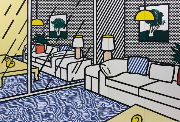 Roy Lichtenstein-Wallpaper with Blue Floor Interior-1992