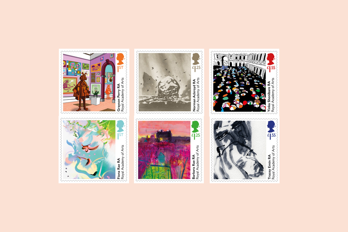 The set of 6 Special Stamps for the Royal Academy of Arts' 250th anniversary