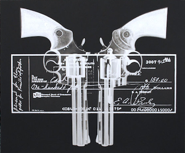 Russell Marshall - Elvis Gun Cheque (silver), 2015