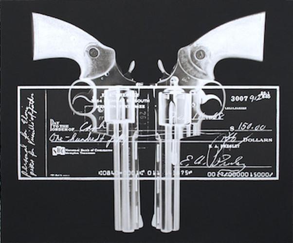 Russell Marshall - Elvis Gun Cheque (silver), 2015