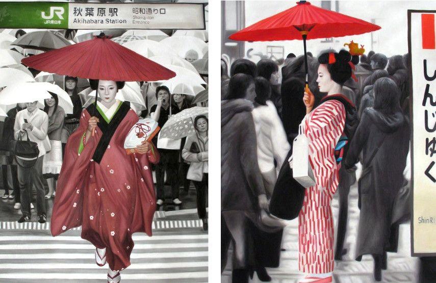 Ryoko Watanabe - Rain, 2010 (left), Red umbrella, 2010 (right)