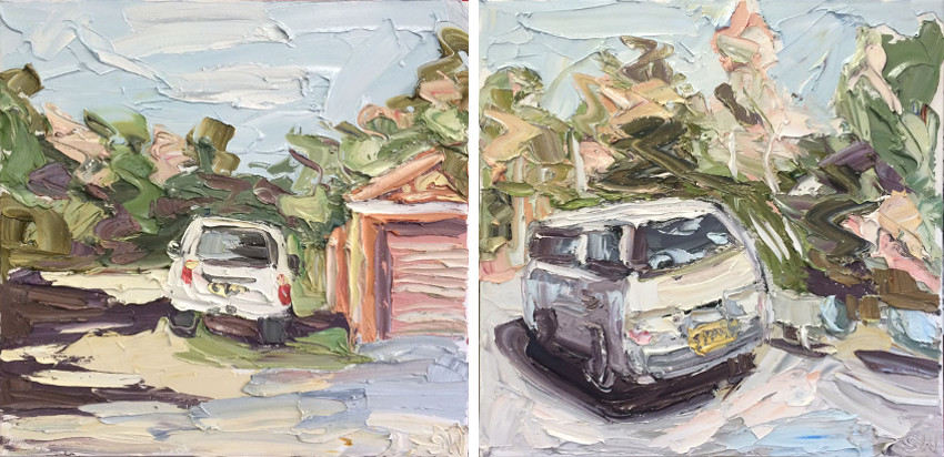 Sally West - White Car At Manly Dam, 2015 - White Van At Manly Dam, 2015