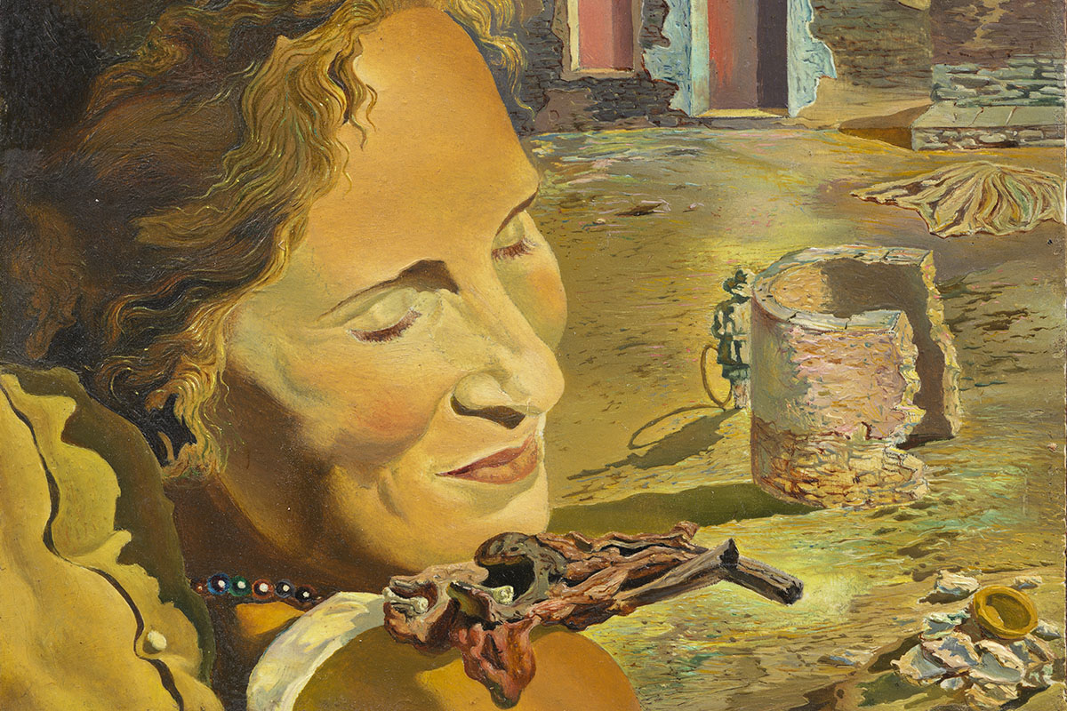 Salvador Dali - Portrait of Gala with two lamb chops in equilibrium upon her shoulder. C. 1934