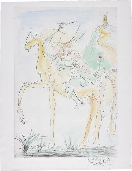 Salvador Dali-Couple a cheval, for Suite mythologique nouvelle (Couple on Horseback, for New Mythological Suite)-1971