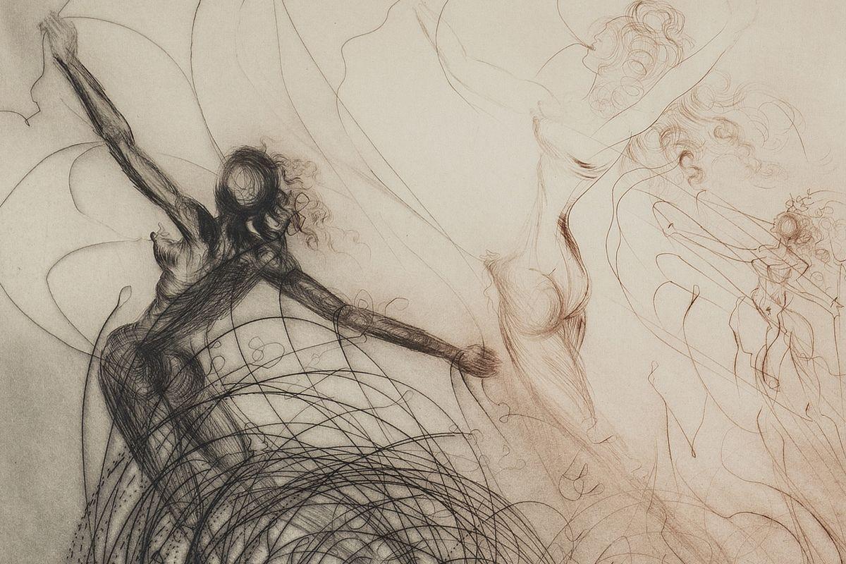 Salvador Dali - Femmes dans les vagues (detail), 1969
