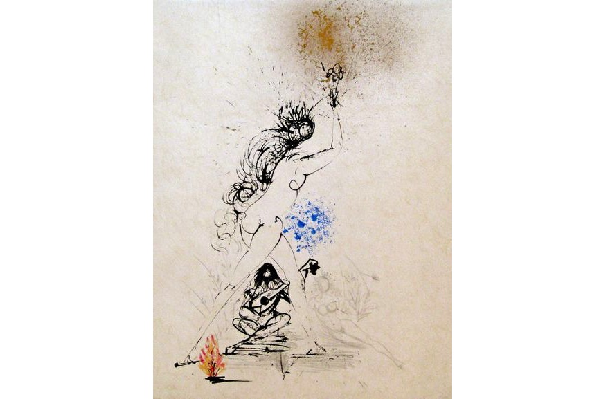 Salvador Dali - Girl with Torch, 1968
