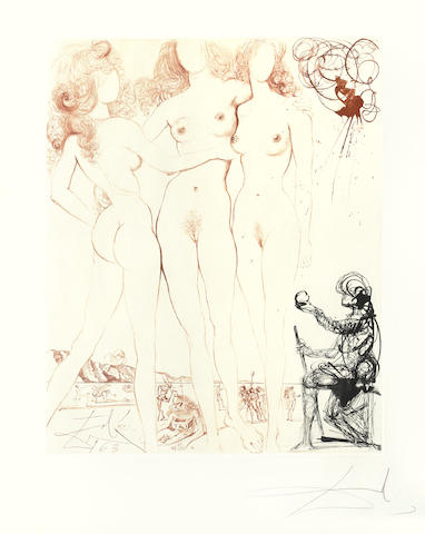 Salvador Dali-Judgement of Paris, from Mythologie-1965