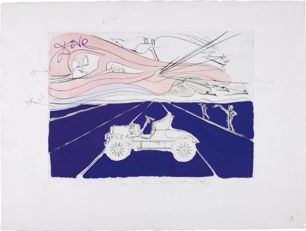 Salvador Dali-L'automobile, for Hommage a Leonardo da Vinci (American Inventions) (The Car, for Homage to Leonardo da Vinci (American Inventions))-1975