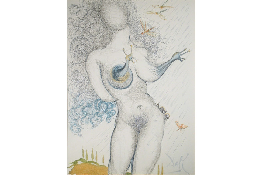 Salvador Dali - Nude with Snail Breasts, 1967