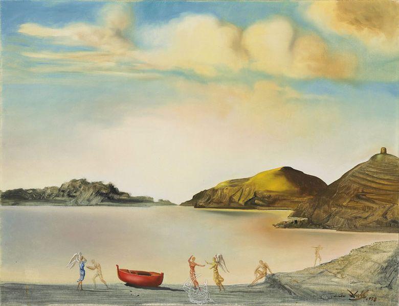 Salvador Dali - Portlligat at Sunset. Landscape, 1958; prints appear in the book prints collection