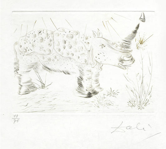 Salvador Dali-Rhinoceros, from Quinze Gravures-1968
