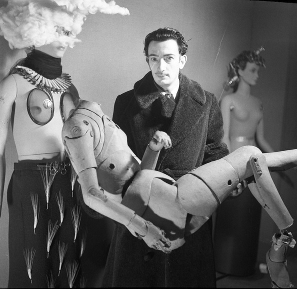 Salvador Dali and his mannequin, Surrealist Exhibition
