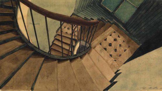 Sam Szafran -The Staircase at 54, Rue de Seine