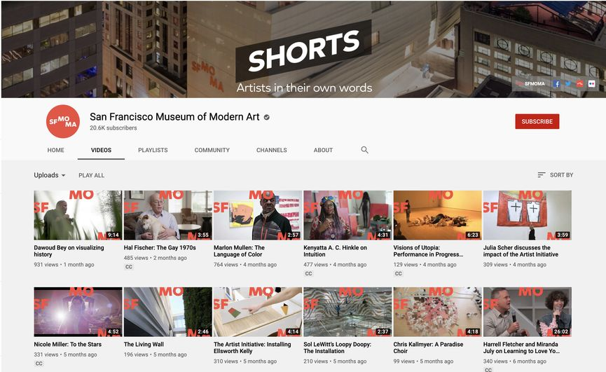 San Francisco Museum of Modern Art YouTube Channel video content