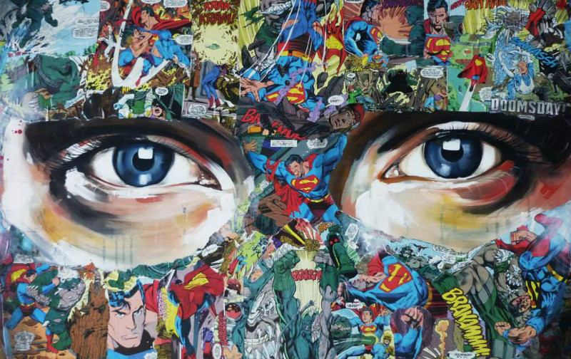 Sandra Chevrier - Eyes, contemporary art, the cage, superheroes, comics, collage, painting