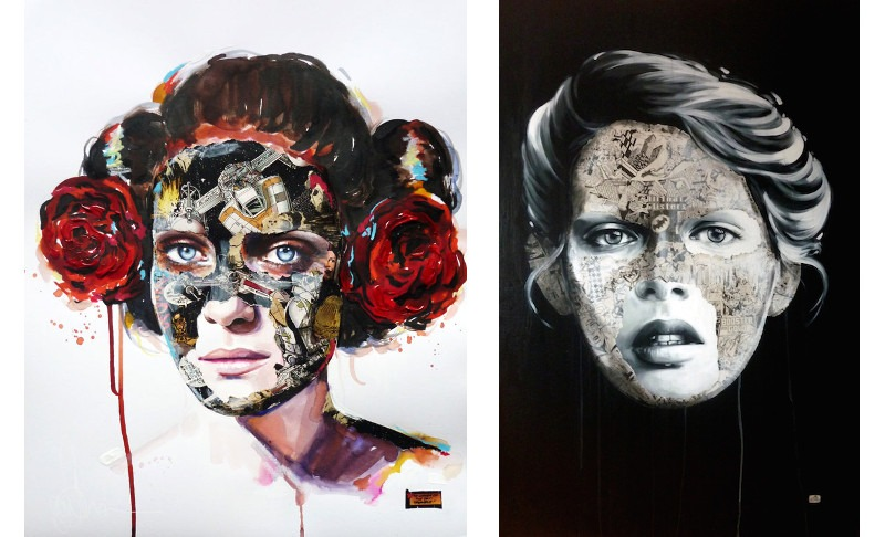 Sandra Chevrier artist, contemporary art, the cage, superheroes, comics, collage, painting