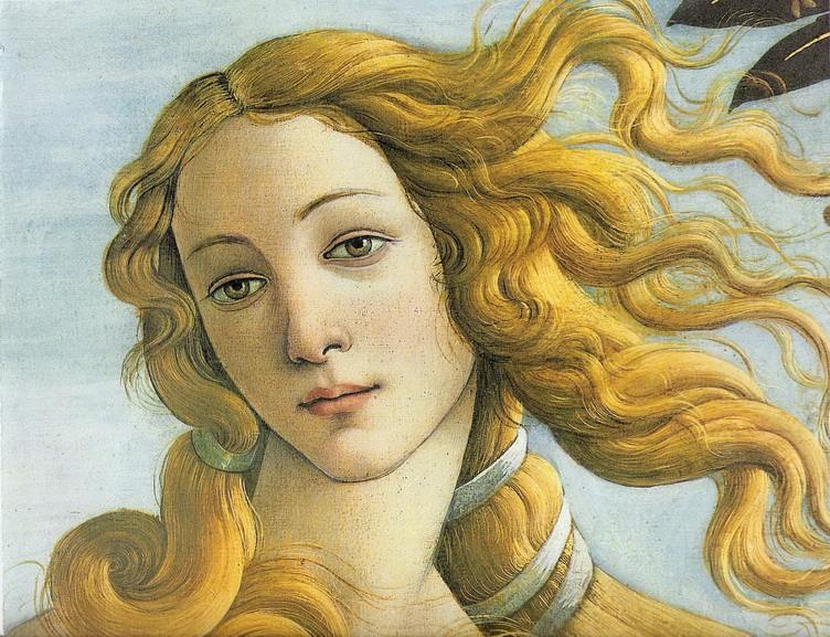 beauty in the work of Botticelli - the Birth of Venus painting detail