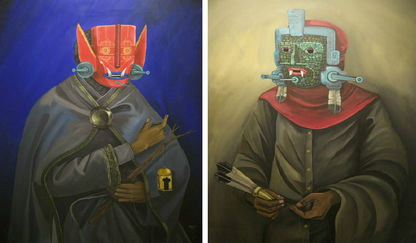 Saner - President of the World, 2014 (left) - Espiritual Guide, 2014 (right), photo credits jonathan levine gallery .com new york 2016