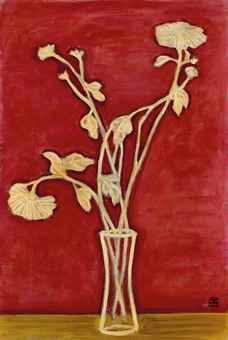 Sanyu-Vase de Chrysanthemes sur une table jaune (Vase of Chrysanthemums on a Yellow Table)-1940