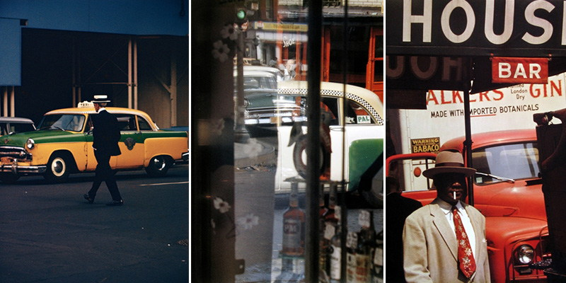 Saul Leiter - Man in Straw Hat, 1955, Taxi 1956 and Harlem 1960, Images copyrights © Howard Greenberg Gallery