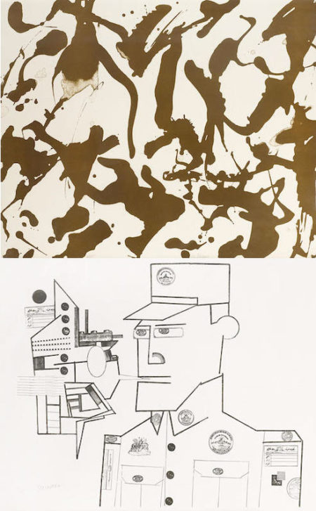Lee Krasner-Saul Steinberg-Saul Steinberg, Lee Krasner - The General; Untitled (Two Prints From The Peace Portfolio)-1970