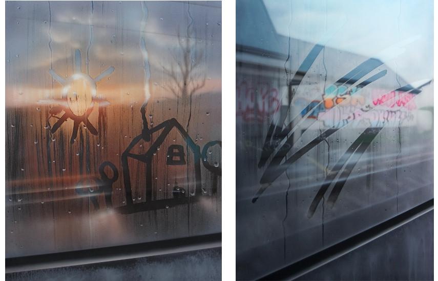 Saype - Delémont, Acrylique sur toile et plexiglas, 2017 ------ Bruxelles, Acrylique sur toile et plexiglas, 2017