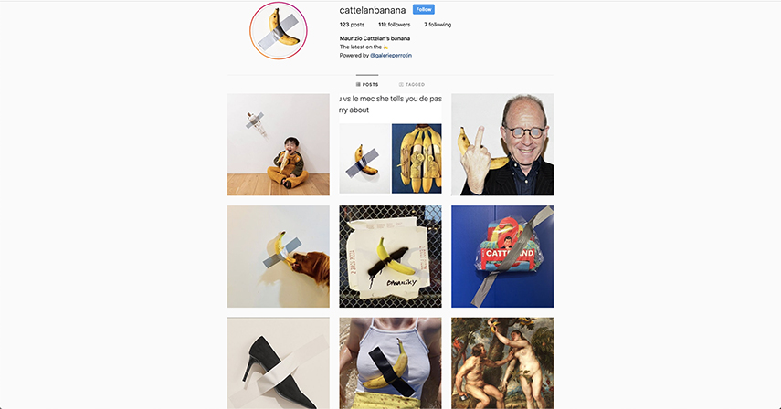 Screenshot of an Instagram account gathering all Banana parodies