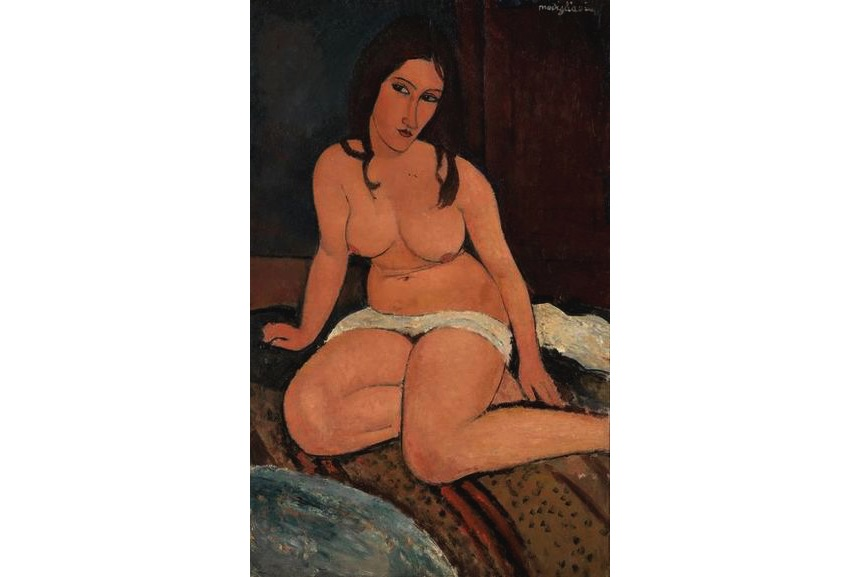 Amedeo Modigliani - Seated Nude, 1917, portrait of jeunne hebuterne
