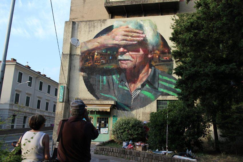 Sebas Velasco - Explorare Necesse Est, mural in Rijeka, Croatia, 2016