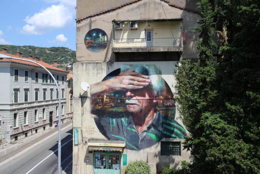 Sebas Velasco - Explorare Necesse Est, new mural, Rijeka, Croatia, 2016
