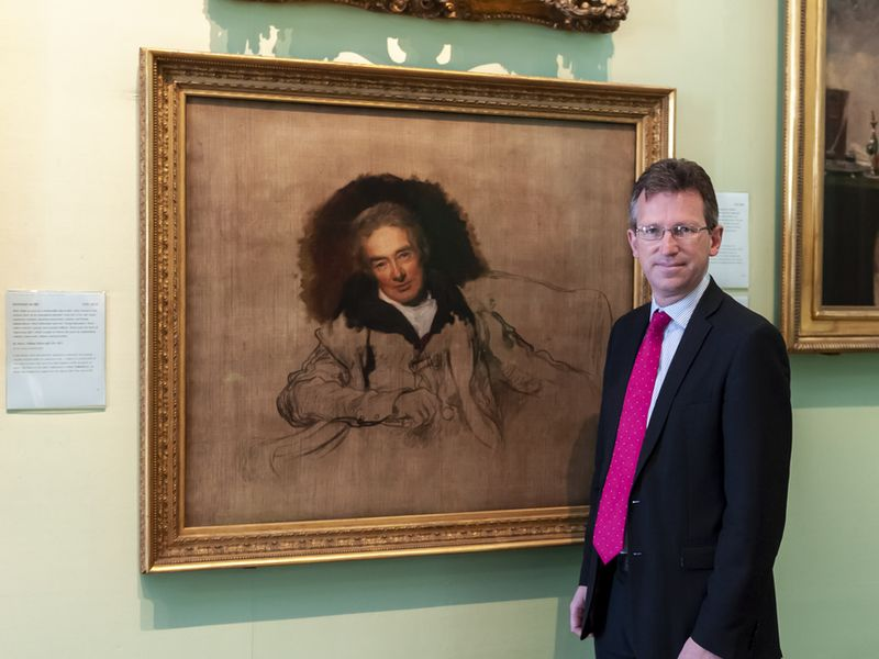 Secretary of State for Digital, Culture, Media and Sport, Jeremy Wright, in front of William Wilberforce by Sir Thomas Lawrence. Photograph by Jorge Herrera