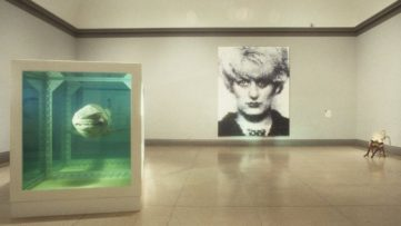 Sensation: Young British Artists from the Saatchi Collection in London, view of Damien Hirst