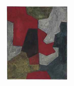 Serge Poliakoff-Composition Abstraite: Rouge, Gris et Vert (Abstract Composition: Red, Grey and Green)-1964