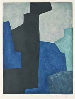 Serge Poliakoff-Composition in Black, Blue, and Mauve-1964