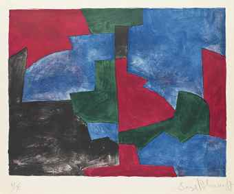 Serge Poliakoff-Composition in Green, Red and Blue-1966