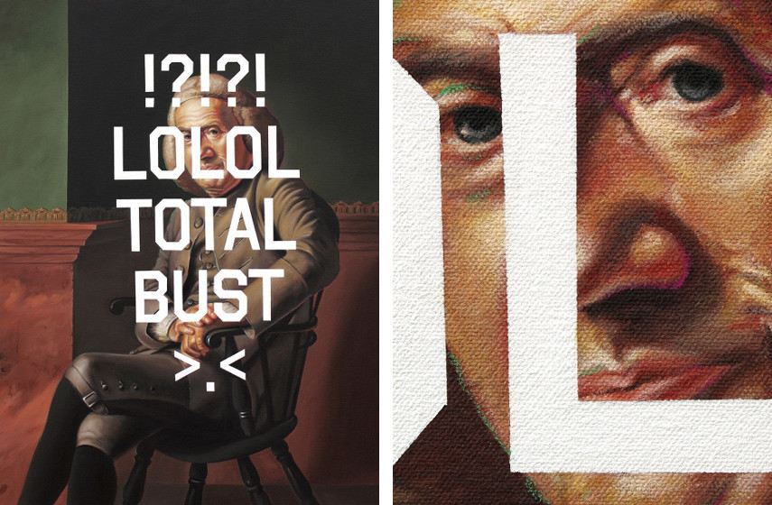 Shawn Huckins - Eleazer Tyng's Laugh Out Loud Laugh Out Loud Total Bust Squint (left), Close up detail (right), 2011