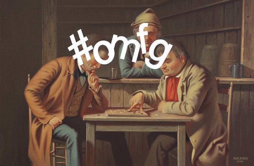 Shawn Huckins - The Checker Players Hashtag Oh My Fucking God (detail) , 2014