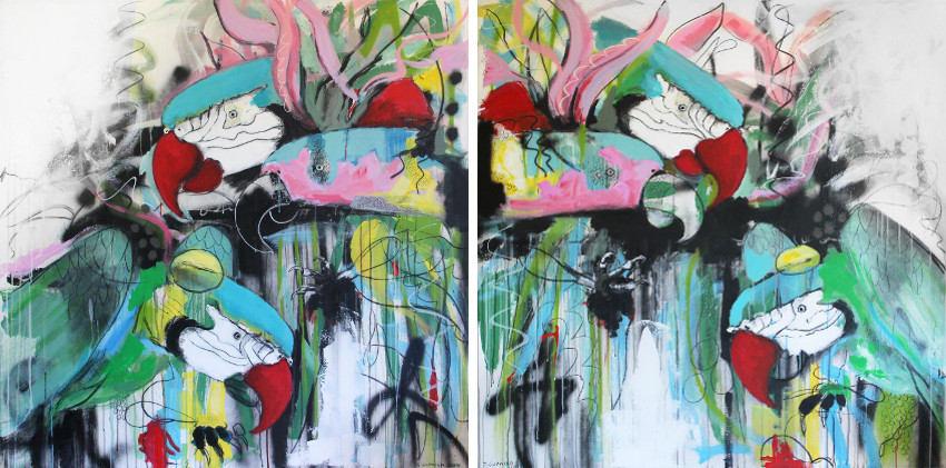 Shelley Cornish - Parrot Attack no. 3, 2015 - Parrot Attack no. 4, 2015