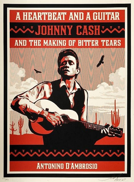 Shepard Fairey-A Heartbeat and a Guitar Johnny Cash (Red Edition)-2009