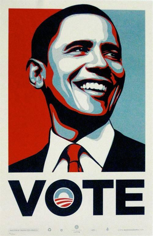 Shepard Fairey-Andre the Giant / VOTE / Flag-2008